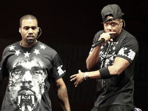 "International Group:  Kanye West, left, and Jay Z perform in concert during the ""Watch The Throne"" tour"
