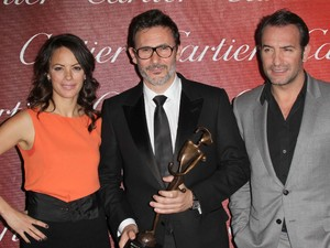 Berenice Bejo, Michel Hazanavicius and Jean Dujardin The 23rd annual Palm Springs International Film Festival Awards Gala at The Palm Springs Convention Center - Press Room Los Angeles, California - 07.01.12 Mandatory Credit: FayesVision/WENN.com