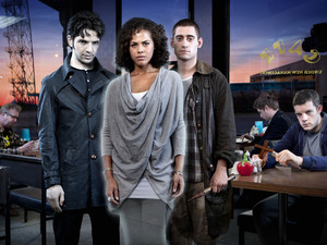 Being Human Series 4: Griffin (Alex Griffin), Regus (Mark Williams), Hal (Damien Molony), Annie (Lenora Crichlow), Tom (Michael Socha), Cutler (Andrew Gower), George (Russell Tovey)