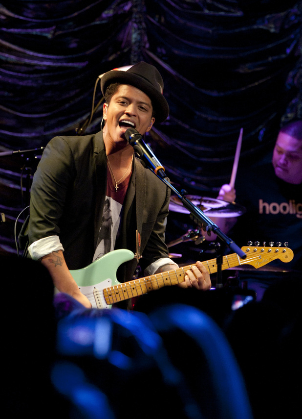 International Male Solo Artist: Bruno Mars performs an intimate gig to a group of Heart listeners during the Heart's Artist of the Year event at Under the Bridge Stamford Bridge