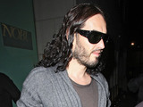 Russell Brand leaving Nobu restaurant on Park Lane after having dinner with friends London, England