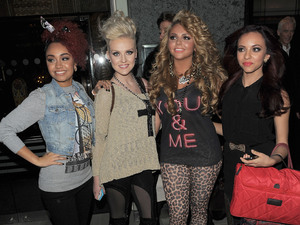 Leigh-Anne Pinnock, Perrie Edwards, Jesy Nelson, and Jade Thirlwall of Little Mix leaving Hilton, Park Lane Hotel.