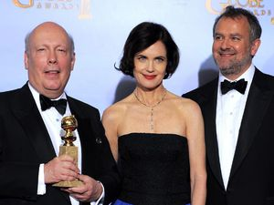 Downton Abbey creator Julian Fellowes with stars Elizabeth McGovern and Hugh Bonneville
