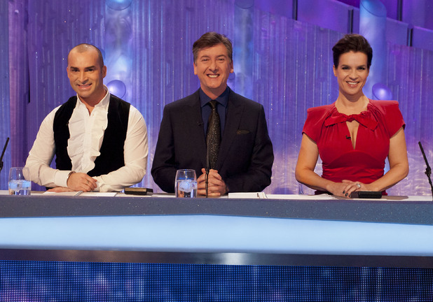 Judges Louie Spence, Robin Cousins and Katarina Witt