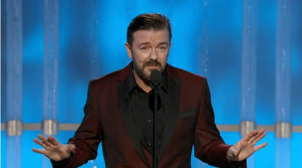 Ricky Gervais at the Golden Globe Awards