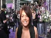 Lacey Turner being interviewed on the red carpet at the 2007 British Soap Awards in London.