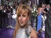 Tina Obrien being interviewed on the red carpet at the 2007 British Soap Awards in London.