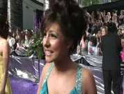 Emmerdale's Roxanne Pallett being interviewed on the red carpet at this year's soap awards held in London.