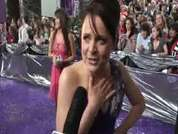 Coronation Street's Vicky Binns being interviewed on the red carpet at this year's soap awards held in London.