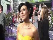 Coronation Street' Kym Ryder being interviewed on the red carpet at this year's soap awards held in London.