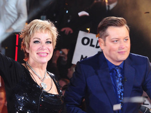 Winner Denise Welch leaves the Celebrity Big Brother House during the live final