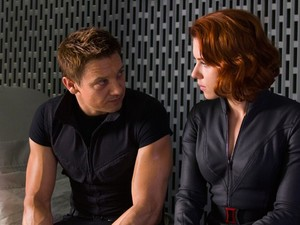 The Avengers: Hawkeye (Jeremy Renner) and Black Widow (Scarlett Johansson).