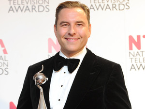 David Walliams, with his Landmark Award, backstage at the National Television Awards 2012