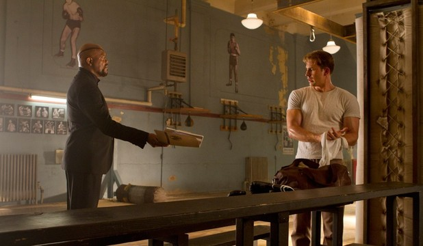 The Avengers: Nick Fury (Samuel L. Jackson) and Captain America (Chris Evans).