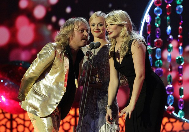 Leigh Francis, Fearne Cotton and Holly Willoughby collect the award for Panel Gameshow on stage at the 2012 NTA Awards