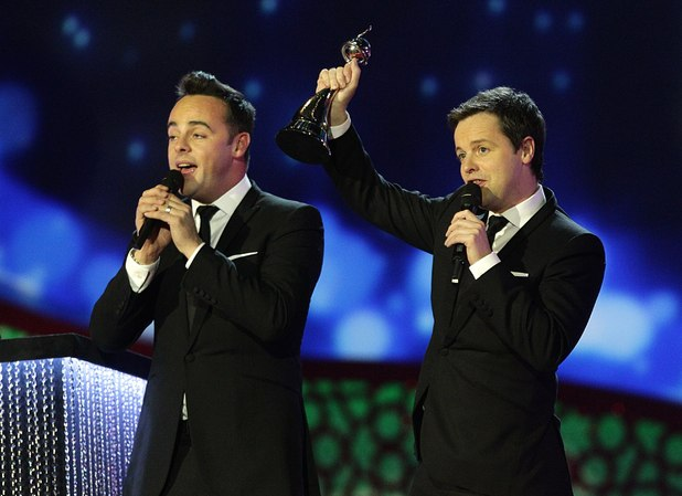 Ant & Dec collect the Entertainment Presenter award during the 2012 NTA Awards