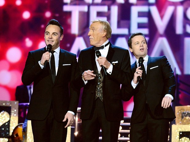 Anthony McPartlin and Declan Donnell on stage with Bruce Forsyth during the 2012 NTA Awards
