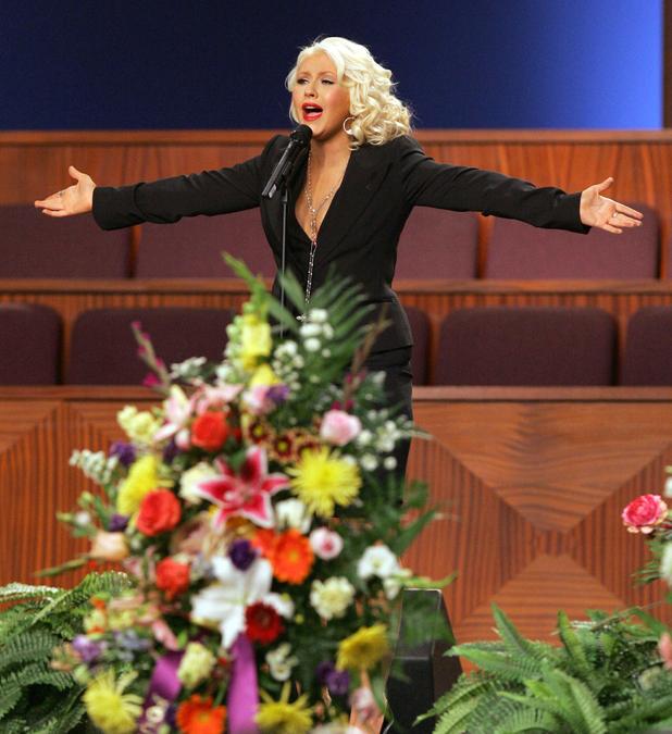 Christina Aguilera performs at Etta James' funeral