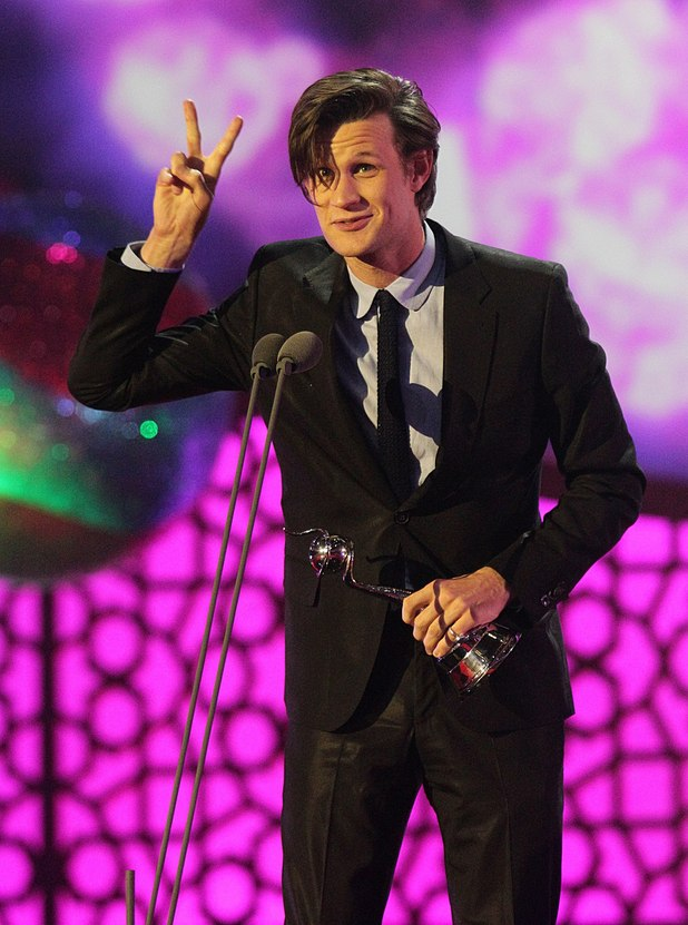 Matt Smith with the award for Best Actor on stage during the 2012 NTA Awards