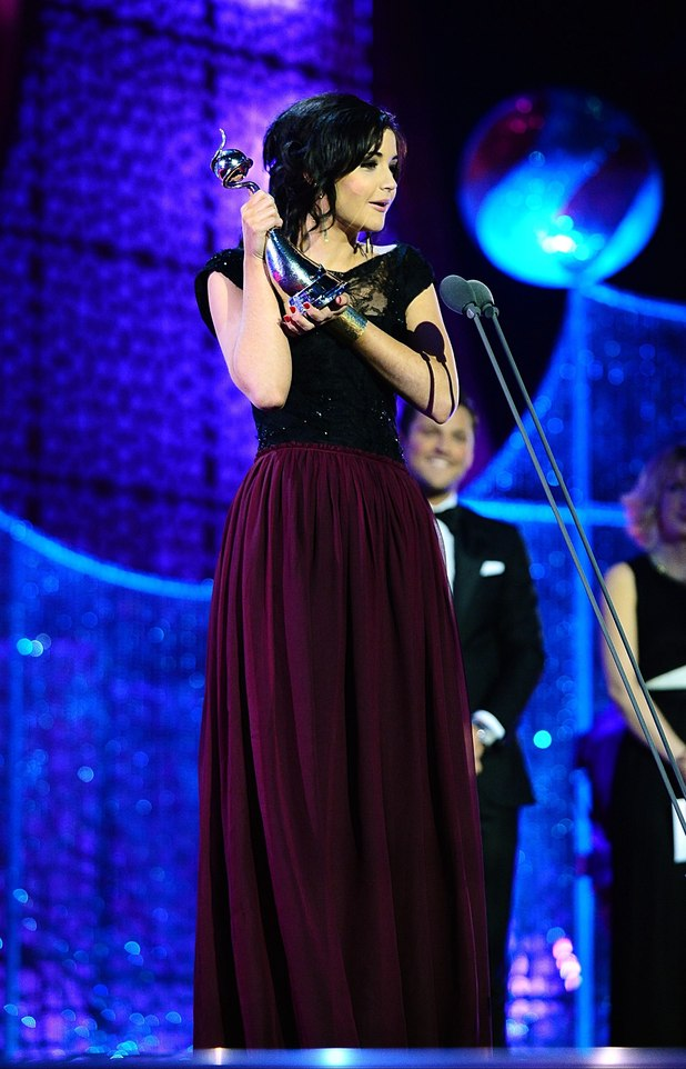 Jacqueline Jossa on stage with her best newcomer award during the 2012 NTA Awards