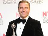 David Walliams, with his Landmark Award, backstage at the National Television Awards 2012