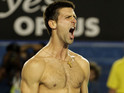 Novak Djokovic celebrates his Aussie Open victory... by getting his top off.