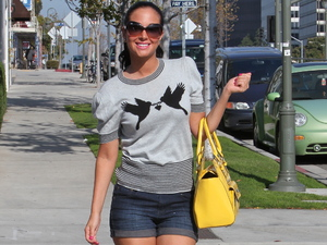 Tulisa Contostavlos enjoying her first day in LA, heading to a meeting Los Angeles