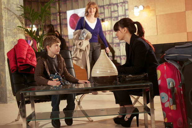Nancy Hayton (Jessica Fox) prepares to leave Hollyoaks