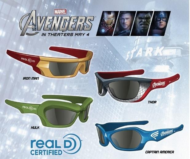 'Avengers' branded 3D glasses