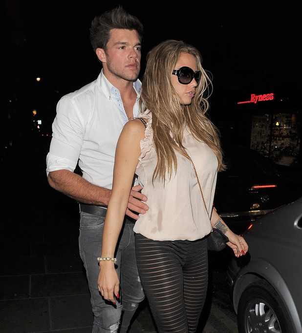 Katie Price aka Jordan leaving Balans restaurant in Soho, with her ex boyfriend Leandro Penna just after 4am. As the pair made their way to the car, Leandro held Jordan by the waist. London