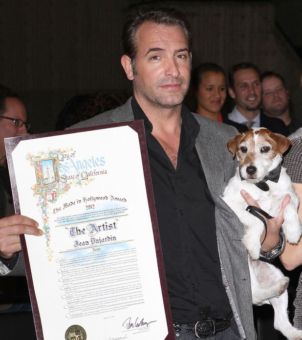Jean Dujardin and Uggie the dog