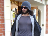 Russell Brand leaves  Roxberry Cafe in Beverly Hills. Los Angeles