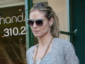 Heidi Klum and her daughter Leni Samuel are seen leaving a restaurant in Brentwood after lunch Los Angeles
