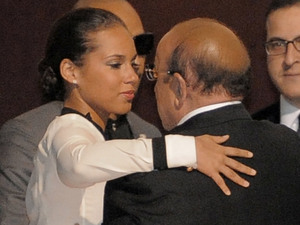 Alicia Keys hugs Clive Davis after news breaks about Whitney Houston&#39;s death
