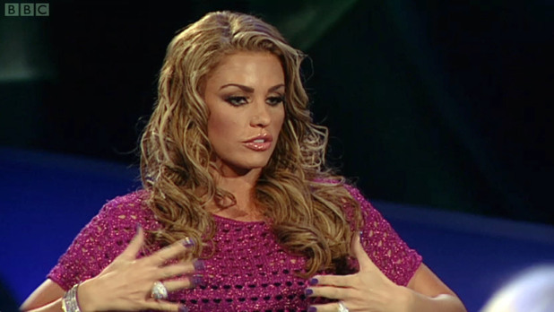 Katie Price appears on Newsnight in a discussion about breast implants, show on BBC1
