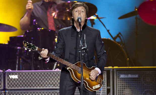 "Sir Paul McCartney performs on stage during his ""Good Evening Europe"" European Tour"