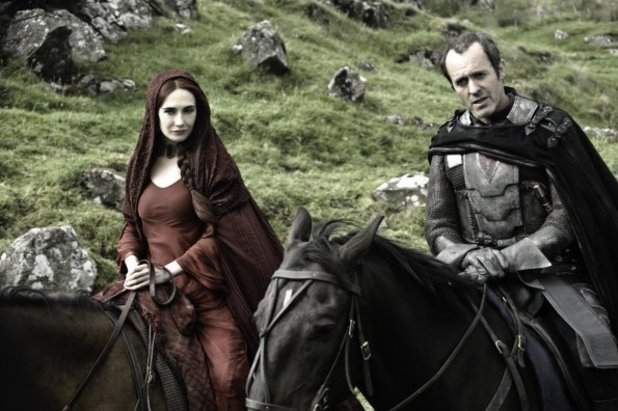 Carice Van Houten as Melisandre and Stephen Dillane as Stannis Baratheon