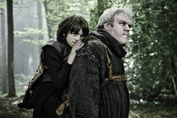 Isaac Hempstead Wright as Bran Stark and Kristian Nairn as Hodor