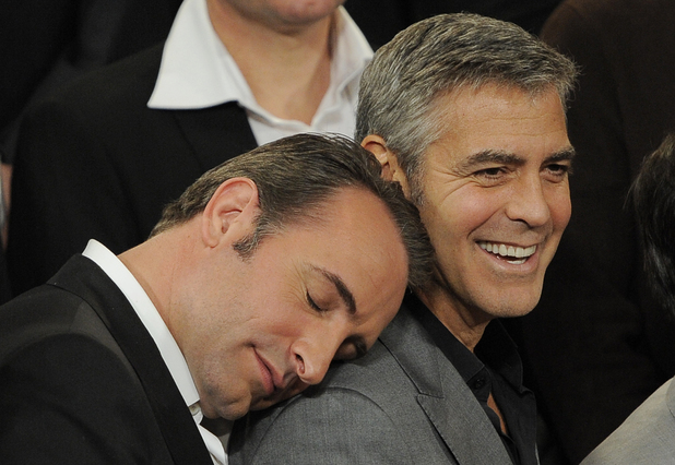 Jean Dujardin, George Clooney, 84th Annual Academy Awards Nominees Luncheon in Los Angeles