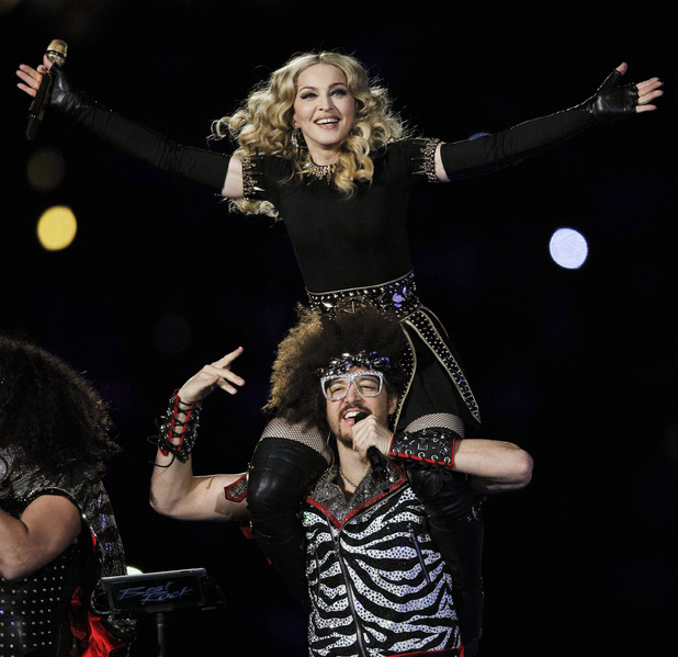 Madonna performs during halftime of the NFL Super Bowl XLVI