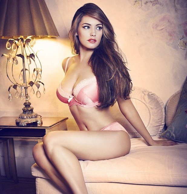 Kelly Brook models Valentine lingerie range