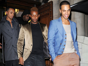 Aston Merrygold, Marvin Humes and Oritse Williams of JLS Aston Merrygold celebrates his 24th birthday at Aura club London, England