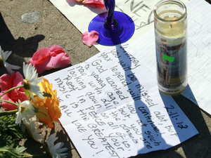 Tributes left outside Beverly Hilton Hotel after the announcement of the death of Whitney Houston, Los Angeles