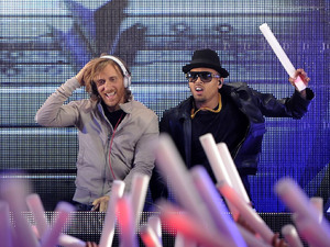 David Guetta and Chris Brown joined forces with Deadmau5 and Foo Fighters for a celebration of electronic music