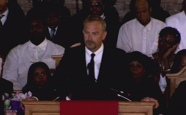 Kevin Costner at the funeral of Whitney Houston at the New Hope Baptist church in Newark.