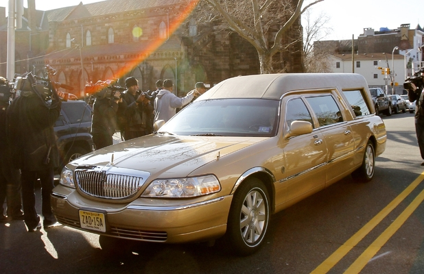 The hearse carrying Whitney Houston