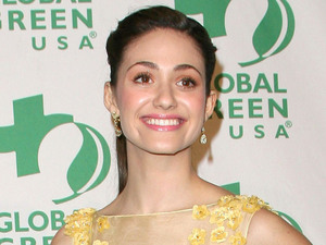 Emmy Rossum wearing Filipino Designer Oliver Tolentino's Eco Coutour made of pineapple fabric Global Green USA's 9th Annual Pre-Oscar Party held at The Avalon
