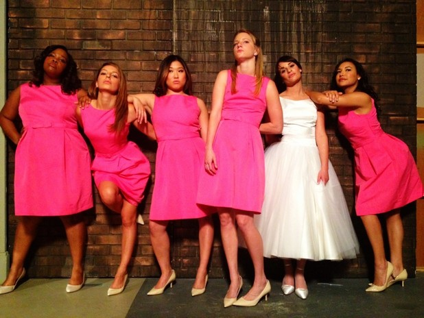 Glee Bridesmaids Lea Michele twitter picture