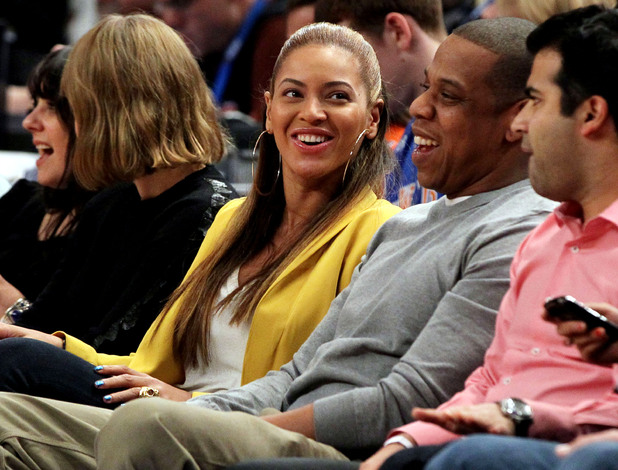 Beyonce and Jay-Z at the New York Knicks v New Jersey Nets, NBA basketball game, Madison Square Garden, New York