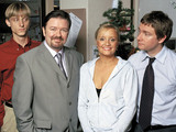 The Office (BBC) Episode: The Office Christmas Special 1, December 26, 2003 Shown from left: Mackenzie Crook (as Gareth Keenan), Ricky Gervais (as David Brent), Lucy Davis (as Dawn Tinsley), Martin Freeman (as Tim Canterbury) This is a PR photo. WENN does not claim any Copyright or License in the attached material. Fees charged by WENN are for WENN's services only, and do not, nor are they intended to, convey to the user any ownership of Copyright or License in the material. By publishing this material, the user expressly agrees to indemnify and to hold WENN harmless from any claims, demands, or causes of action arising out of or connected in any way with user's publication of the material. Supplied by WENN.com